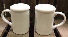 White Handled Shiny Glazed Pottery Salt Pepper Pots Cruet Set Kitchen