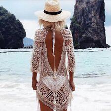 Boho Hippie Damen Spitze Bikini Cover Up Strandkleid Häkel Badebekleidung Kleid