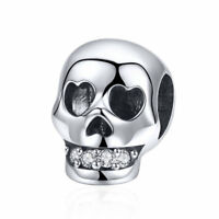 925 Sterling Silver Skull Enamel Pendant Charm To Girl Bracelet Necklace Jewelry
