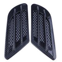 2X Universal Car Air Flow Fender Side Vent Decoration Sticker Carbon Fiber Black