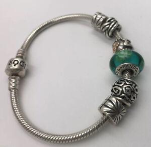 Authentic PANDORA Sterling Silver & 14K Gold MOM Theme Charm Bracelet 6 Charms