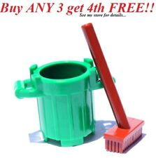 ☀️NEW Lego Green TRASH BIN Brown Push Broom City Garbage Barrel Container Can