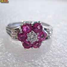 Rubin Ring mit Diamant 585 Weißgold 14k Gold - Design Blume
