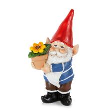 Fairy Garden Standing Boy Gnome with Flowerpot - New - Garden Accessories /A08