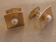 Unisex Estate Collection Solid 14K Yellow Gold Mens Ladies Cufflinks with Pearls