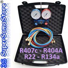 """3S GRUPPO MANOMETRI per GAS R407c R134A R22 R404A CLIMATIZZAZIONE con TUBI 1/4"""""""