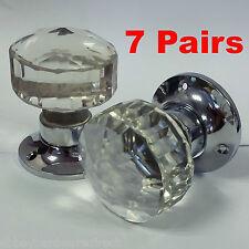 7 x Pairs Faceted Glass Mortice Door Knobs  60 mm Chrome Plated  - Door handles