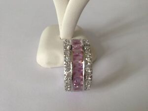 """STUNNING! SILVER R/P PINK/CLR CZ FULL ETERNITY BAND  RING SIZE """"J"""""""