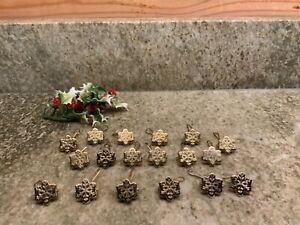 Set of 18 Vintage Gold Snowflake Christmas Ornament Clip Hanger Hooks