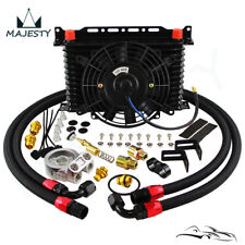 """13 reihiges Ölkühler Kit mit Thermostat Ölfilter Adapter Kit +7 """"Elektro Lüfter"""