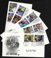 #2983-2992 32c -Jazz Musicians - FULL Set of 10 on 5 PCS FDCs w/ Info Pages