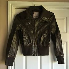 MISO LADIES BROWN FAUX LEATHER JACKET SIZE 10