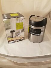 simplehuman Brushed Stainless Steel 1.5 Liter Countertop Trash Can w/ Lid  - NEW