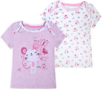 Baby Girls 2 PACK T shirts New Cotton Top White Pink 2 Psc Ages 3 6 9 12 Months