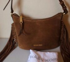 Michael Michael Kors Billy Medium Fringe Caramel Suede Messenger Handbag Purse