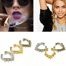 Fake Septum Nose Rings Faux Piercing Nose Studs Nose Hoop Ring Body Jewelry WL