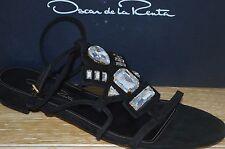NIB OSCAR de la Renta Womens NIRO Black Suede/Crystal Sandal Size 8.5 EUR 38.5
