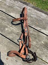 Used leather double ring sidepull horse training aid
