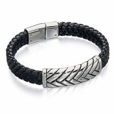Fred Bennett Wide Black Leather Cuff With Plait Design Steel Band B4722