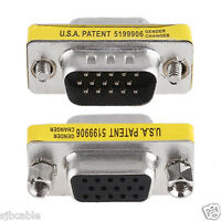 New SVGA VGA 15 Pin Female To Male M/F HD Gender Changer Adapter Coupler for PC