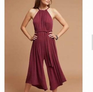 Anthropologie HD in Paris Jacinta Jumpsuit Womens Size XS Maroon Red Stretch