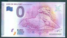 BILLET 2016  SOUVENIR TOURISTIQUE 0 EURO LION DE BELFORT NUMERO MIROIR N° 909