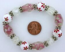Glass Pewter Stretch Bead Bracelet mb27 Pink White Red Floral Flower Lampwork