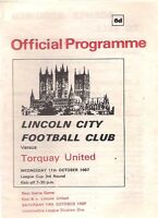 LINCOLN CITY v TORQUAY UNITED 1967-68 LC programme
