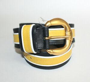 Vintage Carlisle Black Yellow & White Leather & Gold Tone Belt Size Large 1610