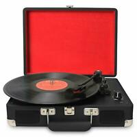 3-Speed Portable USB Turntable/ Vintage Vinyl Archiver Record Player w/Speakers