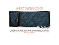 BLACK WATCH PLAID Tuxedo Cummerbund Self Tie Bow Set NEW CTBP6