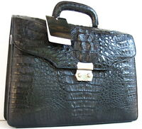100% BIG HORNBACK GENUINE CROCODILE LEATHER BRIEFCASE BAG LARGE SHINY BLACK NEW