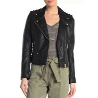 BLANKNYC Faux Leather Moto Jacket Womens Size Large Black Gold Lace Up NWT