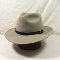 Taupe Byron Fedora Hat with Tan and Black Band VIntage -- Size 6 7/8 Long Oval