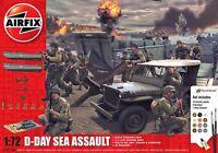 AIRFIX 50156A D-DAY SEA ASSAULT plastic model kit / set Jeep LCVP Howitzer 1:72