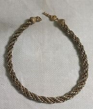 "Vintage Monet Goldtone Metal Twisted Rope Link Chain 15.5"" Necklace"