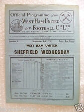 1938 WEST HAM UNITED v SHEFFIELD WEDNESDAY, 3rd Sept (very RARE)
