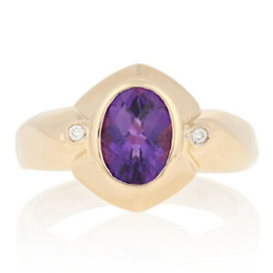 1.79ctw Oval Cut Amethyst & Diamond Ring - 14k Yellow Gold Matte Accents