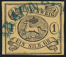BRAUNSCHWEIG, MiNr. 6 a Y, blau gestempelt, Fotokurzbefund Lange, Mi. 100,-