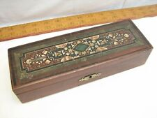 Vintage Locking Wooden Pen/Pencil Box Travel Case Drawing Inkwell Wood School