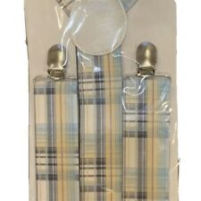 Suspenders Boys New In Package Fits age 14+ Plaid Blue Yellow White Easter Cute