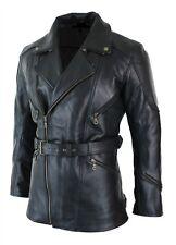Mens Black 3/4 Motorcycle Biker Long Cow-Hide Leather Jacket/Coat