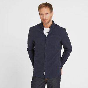 TOG 24 Mens Long Sleeve Shirt Button Smart Casual Pocket Super soft Dark Blue