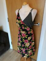 Ladies TU Dress Size 16 Black Floral True Wrap Smart Party Day