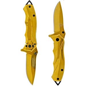 """SPRING ASSISTED FOLDING POCKET KNIFE Steel Blade with Belt Clip 6.25"""" GOLD key"""