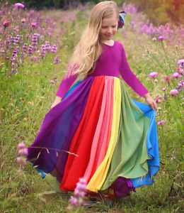 2021 New Autumn Long Sleeve Rainbow Screen Dress Girl's Printed Princess Skirt