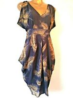 George 12 brown beige feather pattern retro look ladies occasion Party Dress