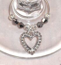 10 X Wine Glass Charms Silver Hearts Wedding Day Christening Hen Party Handmade