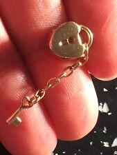 14 Ct Yellow gold Pandora Heart Lock And Dangle key Charm , not scrap