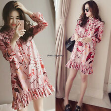 Vintage Women Long Sleeve Floral Tunic Summer Casual Loose A Line Dress Floral M